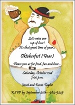 Oktoberfest beer man invitations