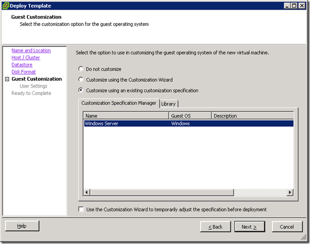 customize using an existing customization specification