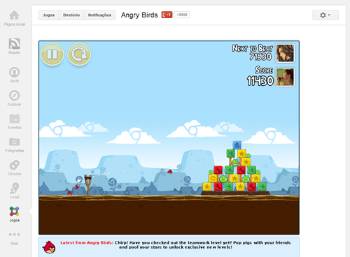 Angry Birds no Google Plus