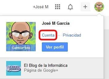 Captura Opción Cuenta de Google