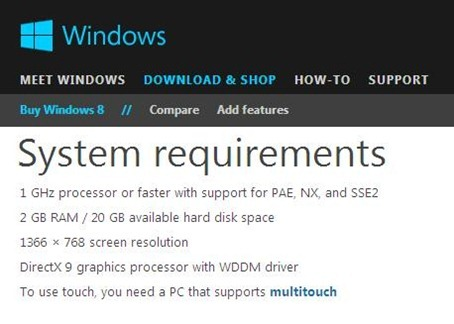Windows 8 System Requirements