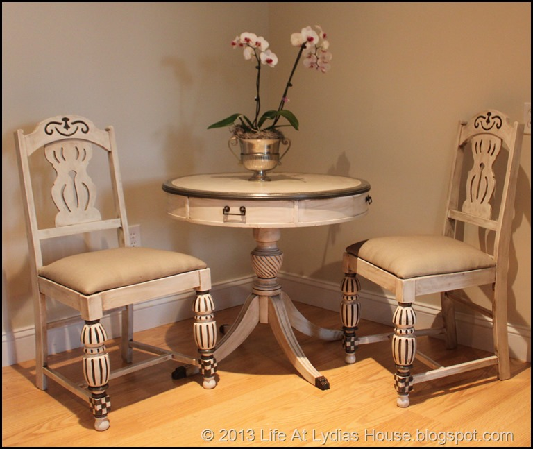 Mackenzie Childs table and chairs 1