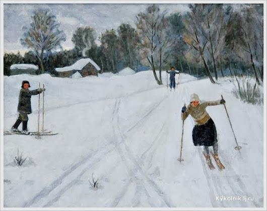 Ледяев Николай Михайлович (Россия, 1893-1974) «Лыжница» 1930-е