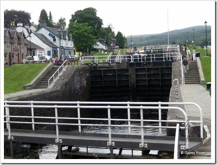 Staircase locks at Fort Augustus on the Caledonian canal.