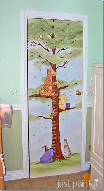 Pooh on closet door