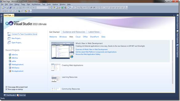 VisualStudio-Startup-Screen