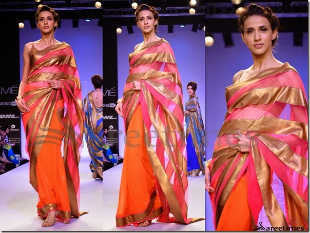 Mandira_Bedi_Pink_Orange_Half_and_Half_Saree