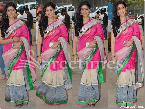 Sakshi_Tanwar_Tricolor_Net_Saree
