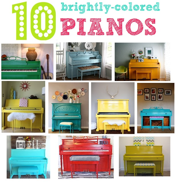 Ten Painted Pianos in Bright Colors