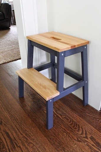 I mentioned I bought this step stool for the kitchen after purchasing one for our godson awhile back. I painted the legs a navy blue and used a shellac on ... & Ikea Bekvam Step Stool Hack For Kids - Danks and Honey islam-shia.org