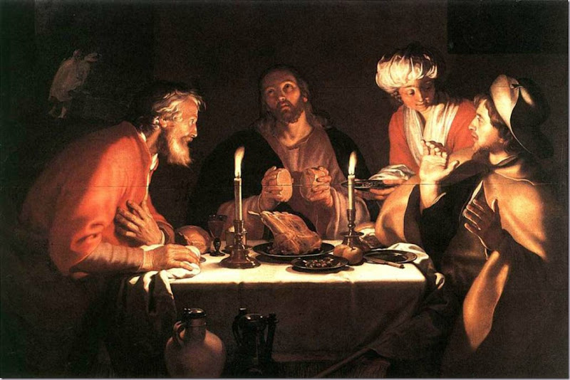 Jesus After Resurrection. Emmaus Disciples Bloemaert 1622. 'When he was at table with them, he took the bread and blessed and broke it and gave it to them. And their eyes were opened...' Luke 24.30-31 ESV.
