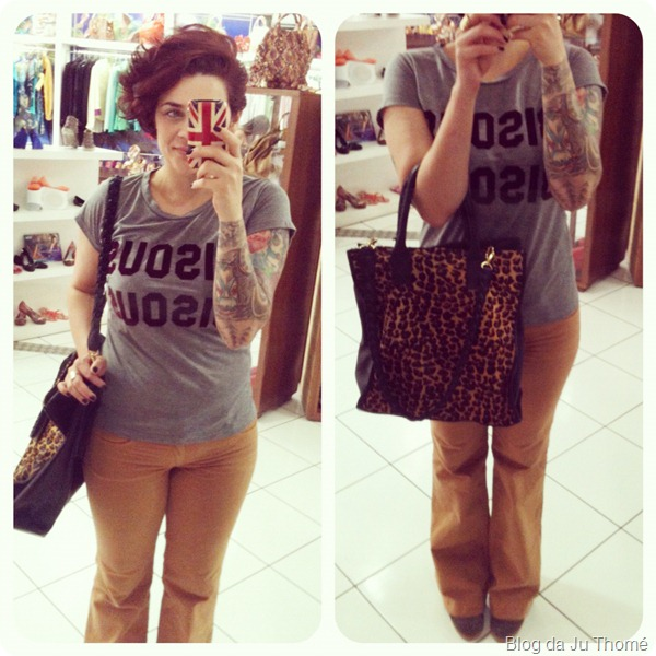 look calça flare tee miss melon bisou bisou thássia naves