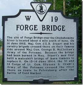 Forge Bridge marker W-19 in New Kent County, VA