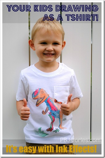 Ink Effects Kids Tshirt Drawing on PBJstories.com DIY