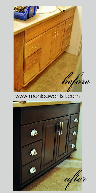 DIY Stain honey oak cabinets with gel stain to get modern, dark espresso kitchen or bathroom cabinets for under $50. This tutorial is amazing!