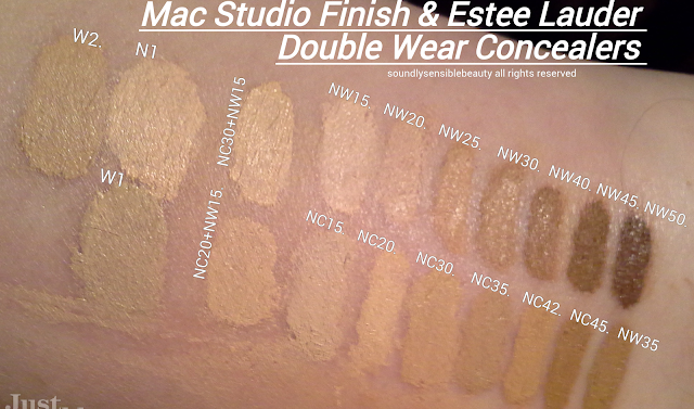 MAC Studio Finish Concealer Review & Swatches of Shades NW15, NW20, NW25, NW30, NW40, NW50, NC15, NC20, NC30, NC35, NC42, NC45, NW35 (with Estee Lauder Double Wear Stay in Place High Cover Concealer W1, N1, & Resilience Lift Cream Compact W1)
