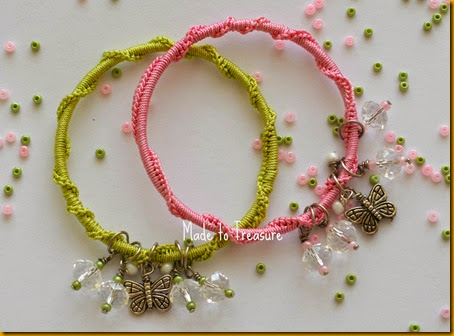 crochet bangles with butterfly charm