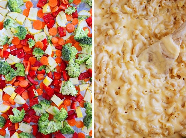 Spicy Roasted Vegetable Macaroni and Cheese – No butter, lots of veggies, and family friendly! Everyone always raves about this mouthwatering mac! | thecomfortofcooking.com