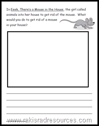 eek there's a mouse in the house reading response sheet - free download