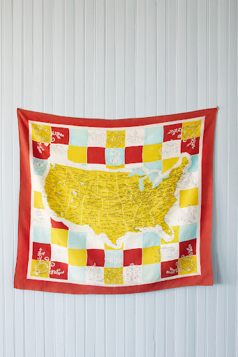 Scarf map of the United States. It is very difficult to find a scarf in such pristine condition because scarves were used quite heavily. (Martha Stewart Living, July 2010)