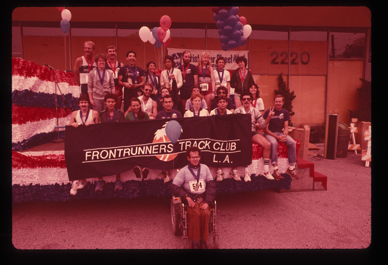 Frontrunners Track Club at the Los Angeles Christopher Street West pride parade. 1982.