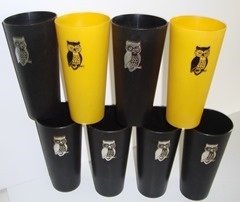 Set of 8 vintage plastic owl tumblers by Nasco