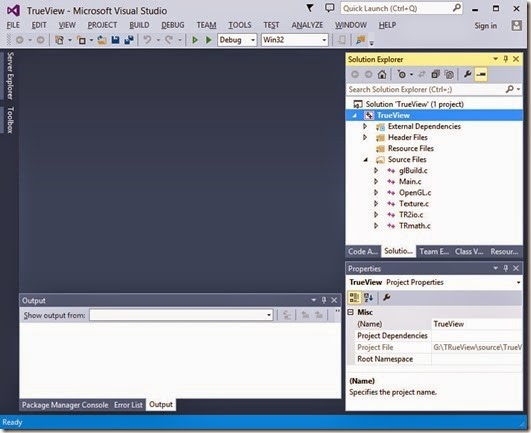 Project open in Visual Studio