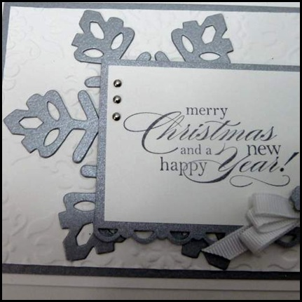DCBD239, sketch, challenge, snowflake, die cut, Christmas, embossing, button bow, brads, embossing folder, seasonal sentiments, classes and events, holidays, Sharon_Field, createdbyu