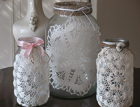 Crafts by Amanda burlap doily luminaries