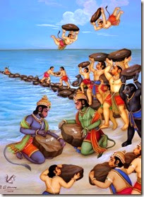 [Monkeys building bridge for Rama]