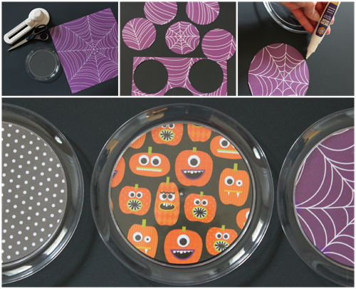 coordinate party plates with scrapbook paper