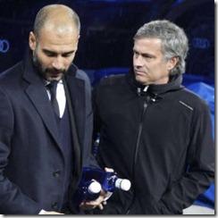 Mourinho y Guardiola comentando