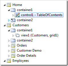 Control1 synched in the Project Explorer.