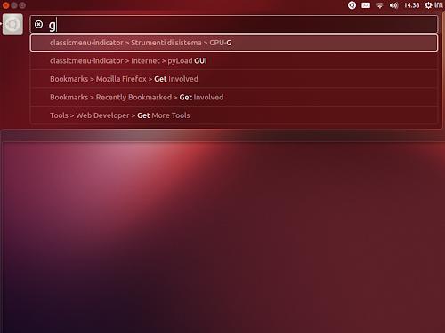 ClassicMenu Indicator in HUD su Ubuntu