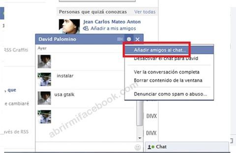 Añadir amigos al Chat de Facebook