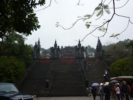 Entrance to the Khai Dinh mausoleum, built between 1920-1934, a marked difference from typical oriental architecture.