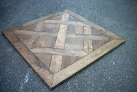 riproduzione di pavimento in legno antico mediante listoni di rovere in prima patina