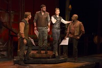 Camelot TRTC 11-15-14 197<br />Camelot at Two River Theatre Company<br />November 15, 2014 - December 14, 2014<br />Book and Lyrics by Alan Jay Lerner<br />Music by Frederick Loewe<br />Original Production Directed and Staged by Moss Hart<br />Based on The Once and Future King by T.H. White<br />Music Direction and Orchestrations by Steve Orich<br />Choreography by Mark Esposito<br />Directed by David Lee<br />Set Design: Scott Bradley<br />Lighting Design: Michael Gilliam<br />Costume Design: Tilly Grimes