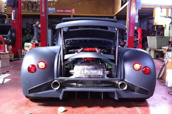 back of Fiat 500 with Lamboghini V12 engine swap
