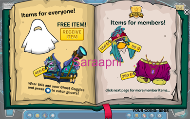 saraapril in club penguin halloween 2012 rare items catalog - Halloween Catalogs