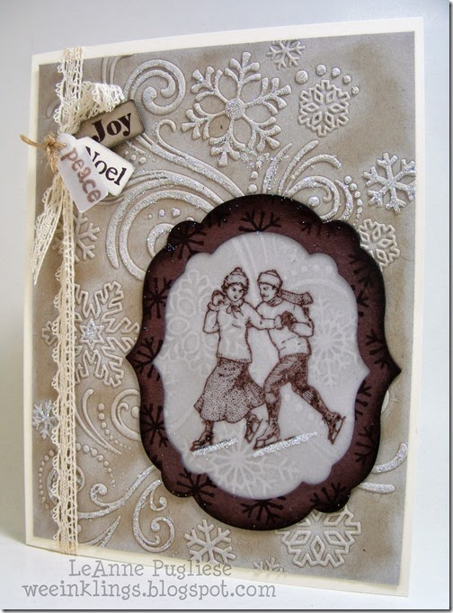 LeAnne Pugliese WeeInklings Merry Monday 119 Winter Post Embossed Snowflake Vintage Christmas Card