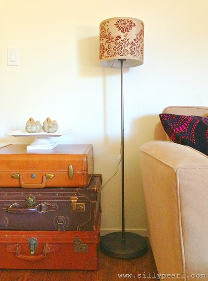 Transform a Torchiere Lamp to a Drum Shade Floor Lamp --The Silly Pearl