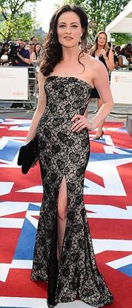 Lara Pulver Wear Black and White Lace Dress