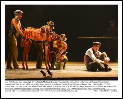 "(L to R) Catherine Gowl, Laurabeth Breya, Nick LaMedica and Andrew Veenstra in the national tour of the National Theatre of Great Britain production of ""War Horse,"" which has its West Coast premiere at the Center Theatre Group/Ahmanson Theatre, June 14 through July 29, 2012.  (Opens June 29.)  ""War Horse,"" the winner of five Tony Awards, is based on a novel by Michael Morpurgo, adapted by Nick Stafford and presented in association with Handspring Puppet Company. For tickets and information, call (213) 972-4400 or go to www.CenterTheatreGroup.org.                          Contact: CTG Media and Communications (213) 972-7376/CTGMedia@CenterTheatreGroup.org                                    Photo by Brinkhoff/Mögenburg"