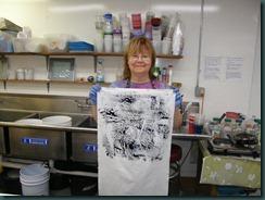 Monoprint from plastic sheet