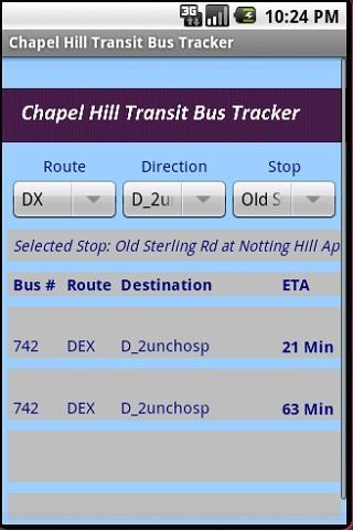 Chapel Hill Transit Bus Times
