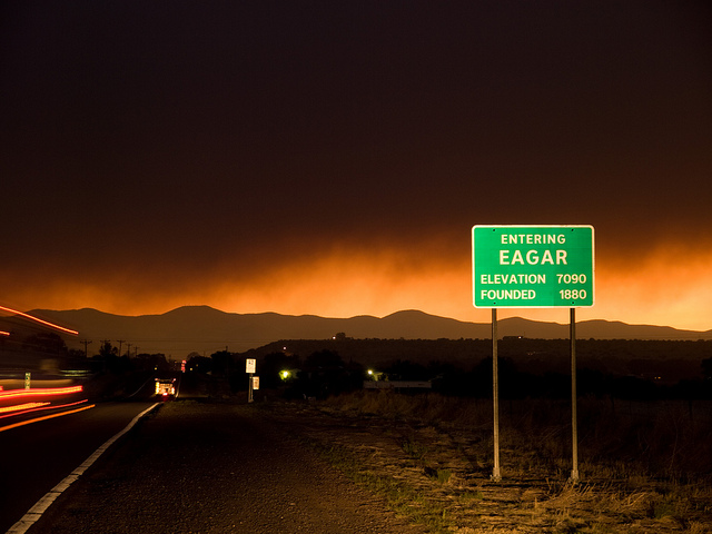 Eager, AZ just after evacuations. Wallow Fire, Arizona, 2011. Photo taken by Kari Greer for NIFC. US Forest Service