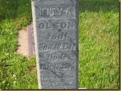 Henry Adolph Olson Gravestone Close Up View
