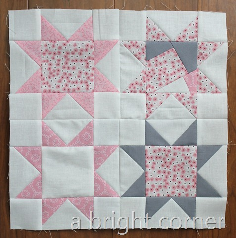 pink and gray sawtooth star block