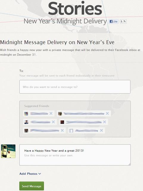 Enviar mensajes para Año Nuevo desde Facebook